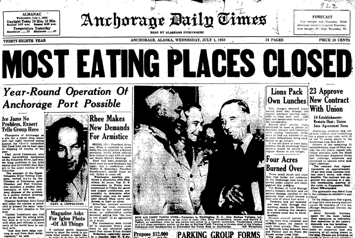 Cover of the July 1, 1953, edition of the Anchorage Daily Times