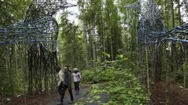 Giant magpie sculptures rise along trail at Alaska Botanical Garden