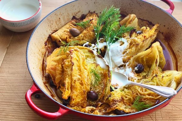 Tomato-miso roasted cabbage with dill and sour cream (Photo by Kim Sunée)