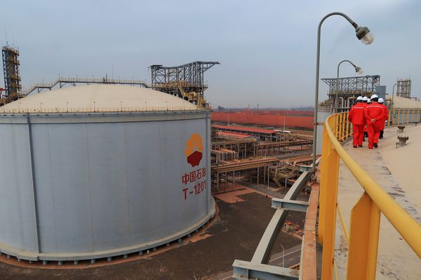 A liquefied natural gas storage tank is seen at Caofeidian terminal, in Tangshan, Hebei province, China, Oct. 17, 2017. (REUTERS/ Aizhu Chen)