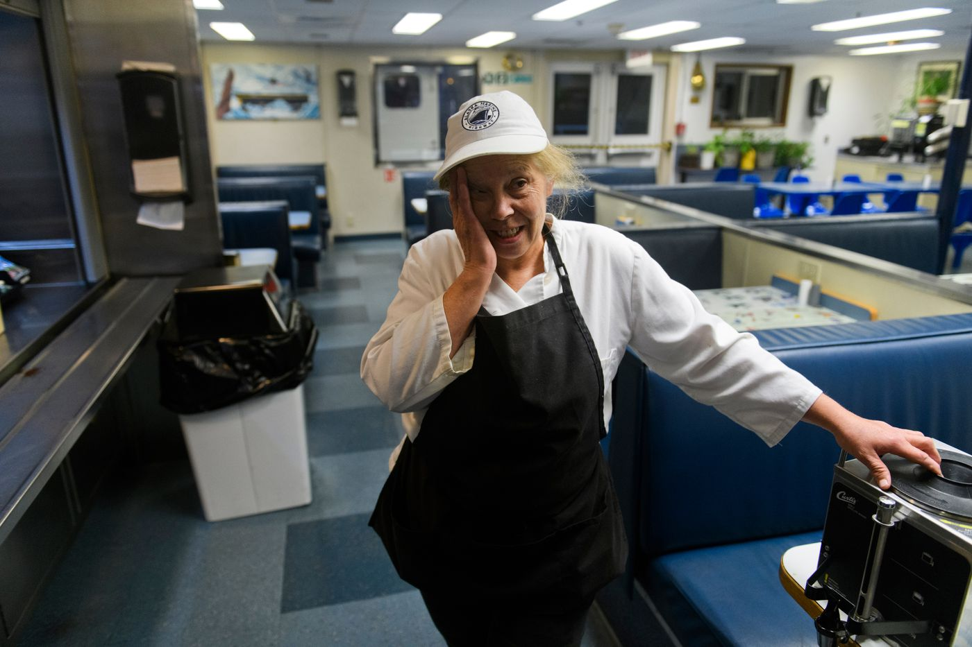 Janet Ward of Juneau is a cook on the M/V Aurora. 'I've watched the kids of Cordova grow up on this ferry, ' she said. (Marc Lester / ADN)