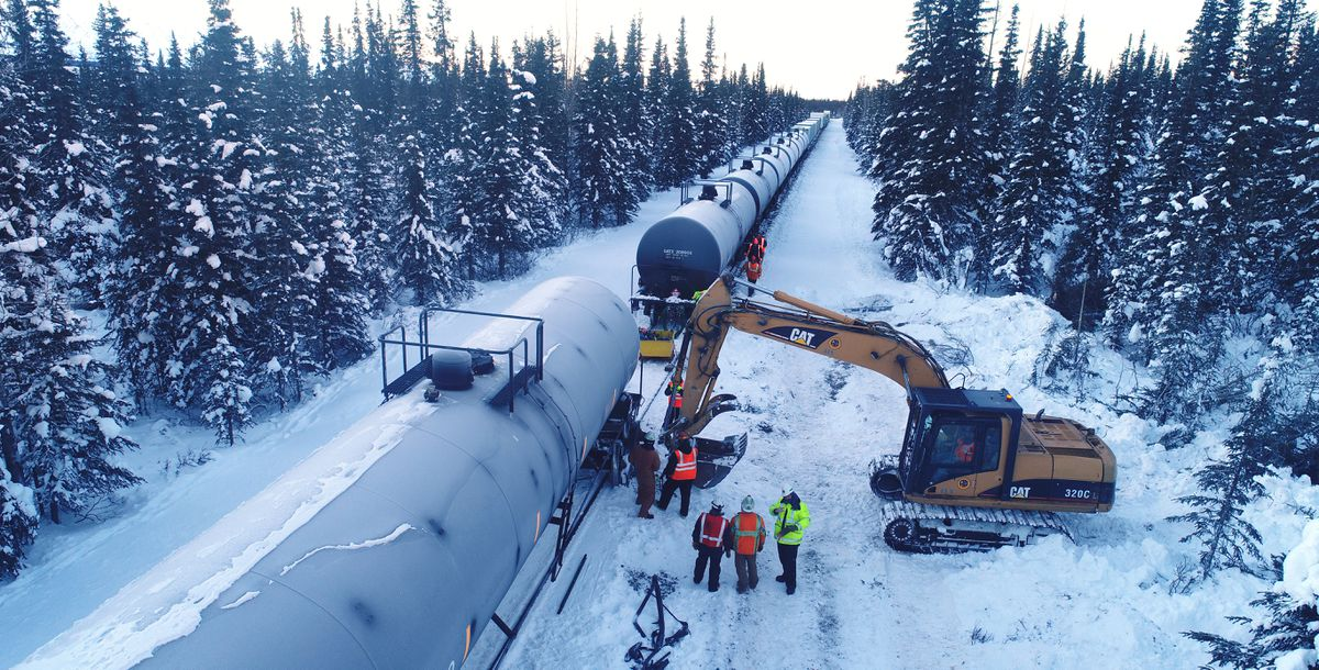 Crews work on the site of a Alaska Railroad single-car derailment Thursday, Jan. 17, 2019. The derailment happened on Tuesday, Jan. 15, 2019. (Photo provided by Alaska Railroad)