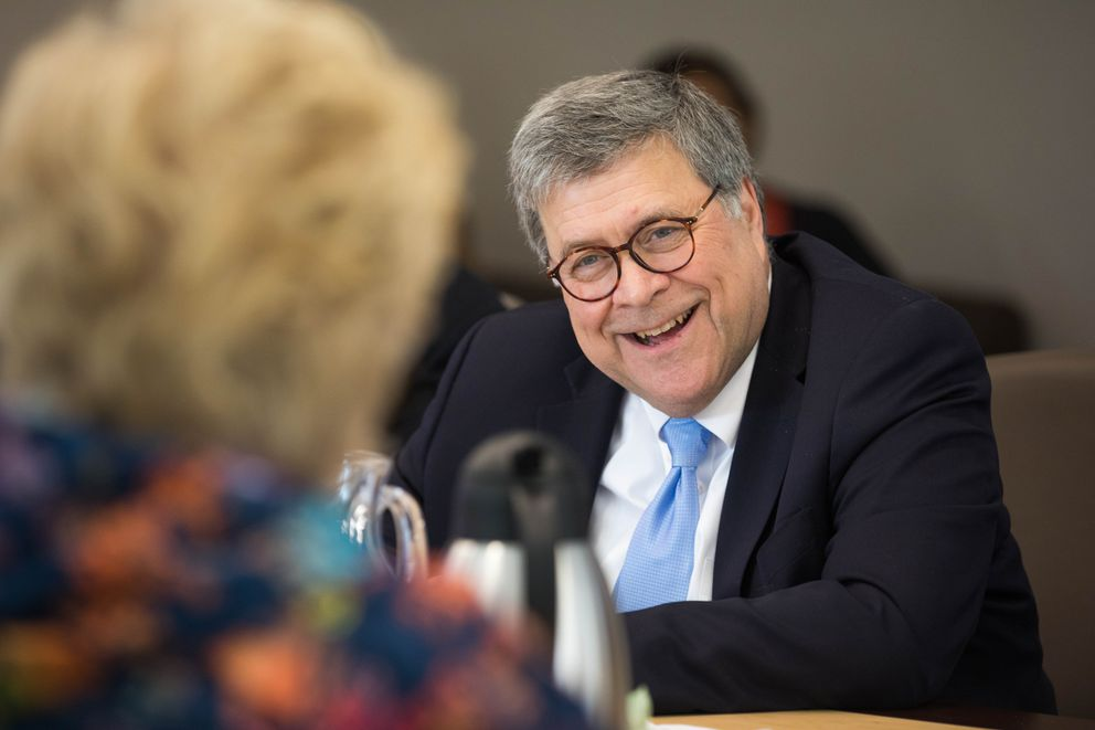 U.S. Attorney General William Barr listens to Gail Schubert, president and CEO of Bering Straits Native Corp. (Loren Holmes / ADN)