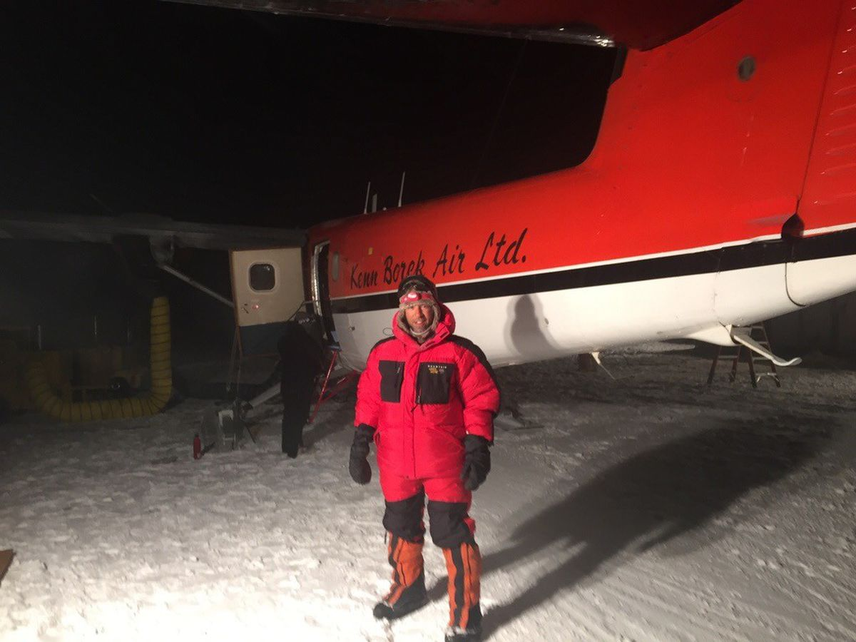 Thai Verzone stands in front of a plane at Rothera Research Station on Adelaide Island. (Courtesy of Thai Verzone)