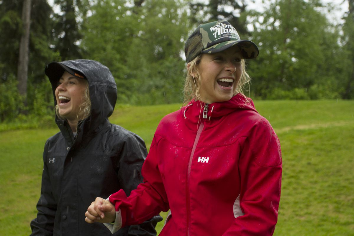 Tori Hickel, left, and Zoe Hickel, shown here while at the Anchorage Golf Course, played together last season for the Calgary Inferno of the Canadian Women's Hockey League. (Sarah Bell / ADN)