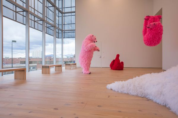 Paola Pivi's piece Polar Bears in the Anchorage Museum's new Rasmuson Wing. The 31,000-square-foot space will open to the public on Sept. 15 alongside a newly reimagined Alaska exhibition in the former Alaska Gallery space. Photographed Wednesday, Sept. 6, 2017. (Loren Holmes / Alaska Dispatch News)