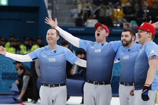 Curling - Pyeongchang 2018 Winter Olympics - Men's Final - Sweden v U.S. - Gangneung Curling Center - Gangneung, South Korea - February 24, 2018 - Vice-skip Tyler George of the U.S. and his teammates skip John Shuster, lead John Landsteiner and second Matt Hamilton celebrate after winning the match. REUTERS/John Sibley