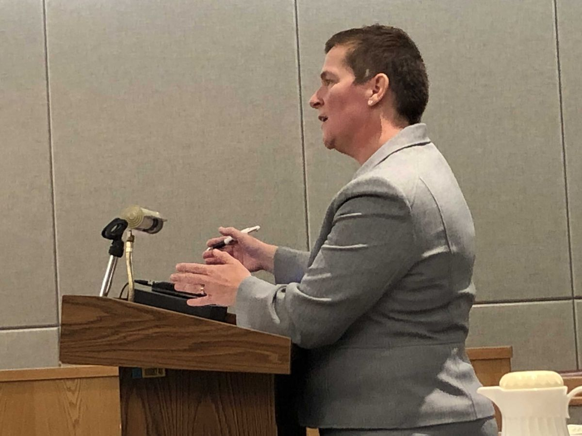 Senior assistant attorney general Margaret Paton-Walsh speaks in Juneau Superior Court on Friday. (James Brooks / ADN)