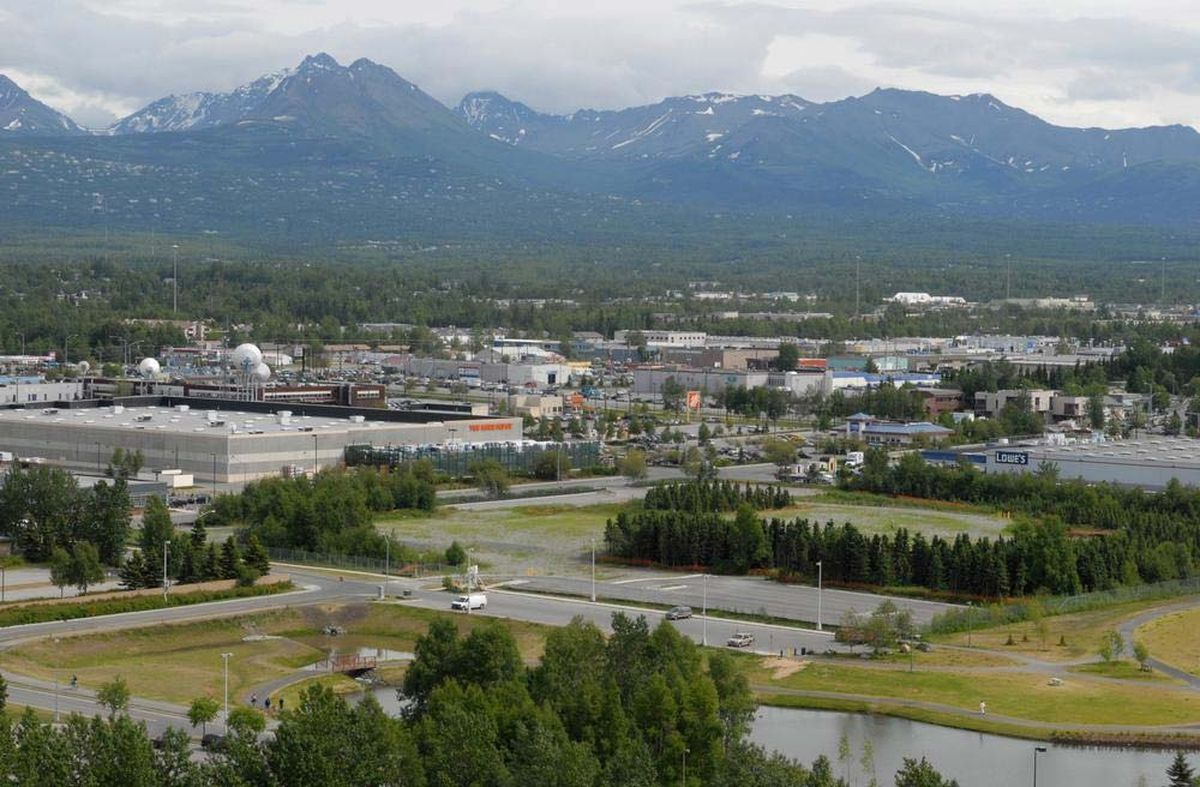 The vacant land beyond the Cuddy Family Midtown Park can be seen from the Frontier Building.(Bill Roth / Alaska Dispatch News)