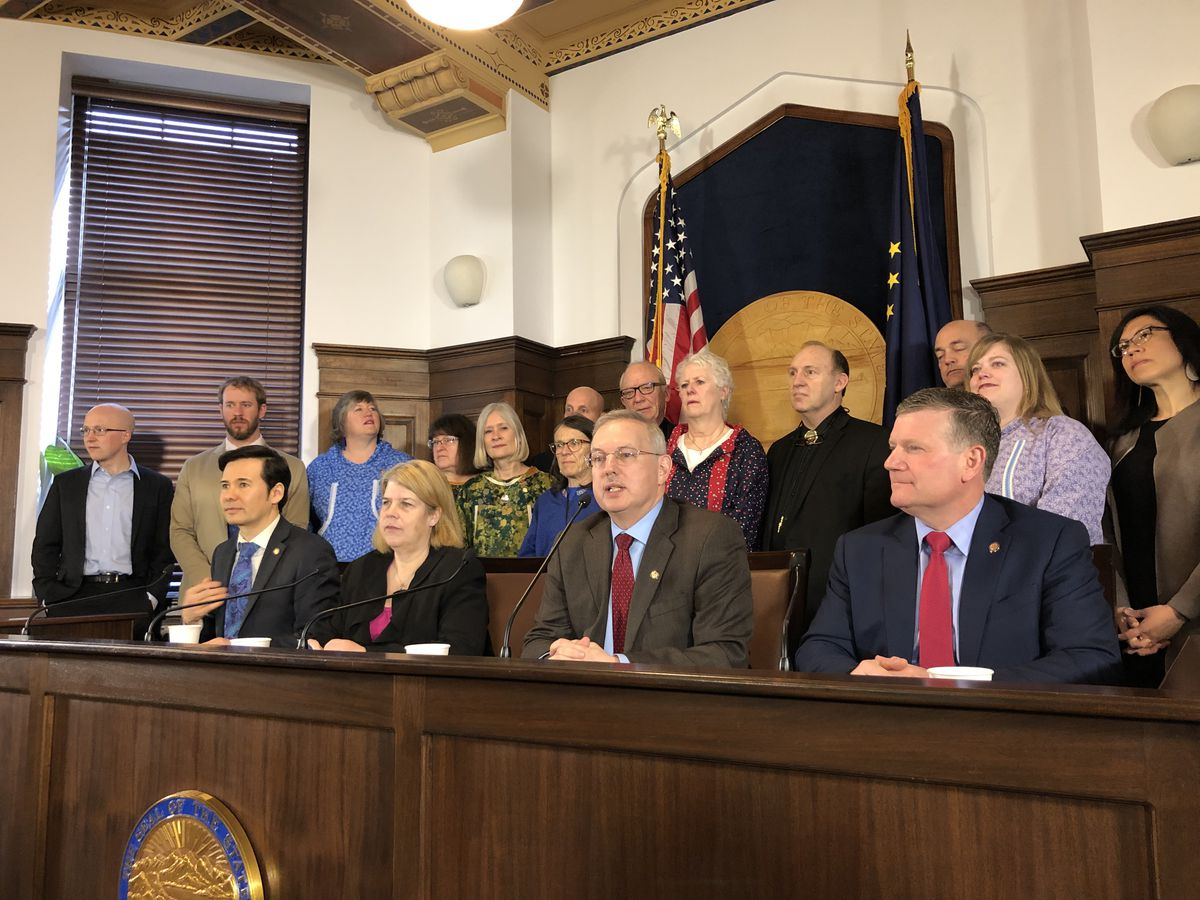 Members of the coalition House majority are seen during a press conference Friday, May 10, 2019 in the Alaska State Capitol. (James Brooks / ADN)