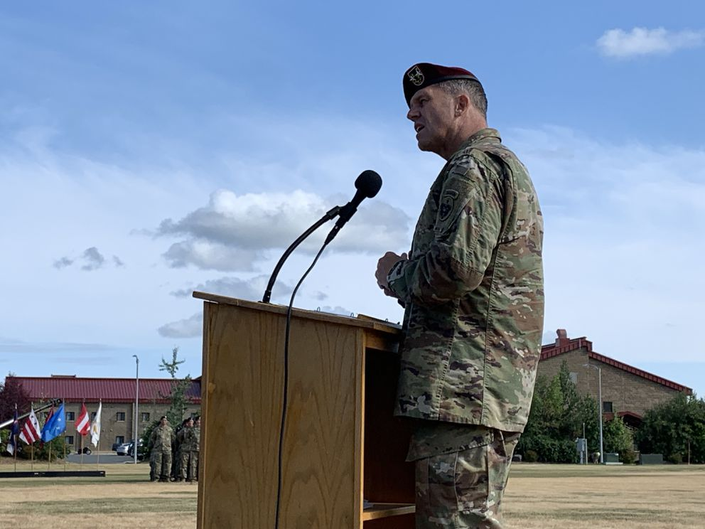Incoming U.S. Army Alaska Commander Maj. Gen. Peter B. Andrysiak addresses soldiers and guests during a change of command ceremony July 16, 2019. (Jeff Parrott / ADN)