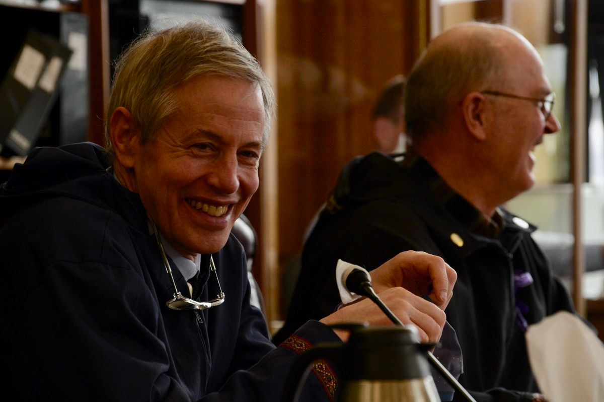 Rep. Matt Claman, D-Anchorage, smiles on Friday, May 14, 2021 after state lawmakers voted to lift a mask mandate in the Alaska State Capitol. The Capitol building remains closed to the general public amid continued precautions. (James Brooks / ADN)
