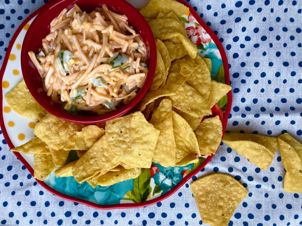 Maya Wilson's version of the famous jalapeno-cheese dip known as Kenai dip. (Julia O'Malley/ADN)
