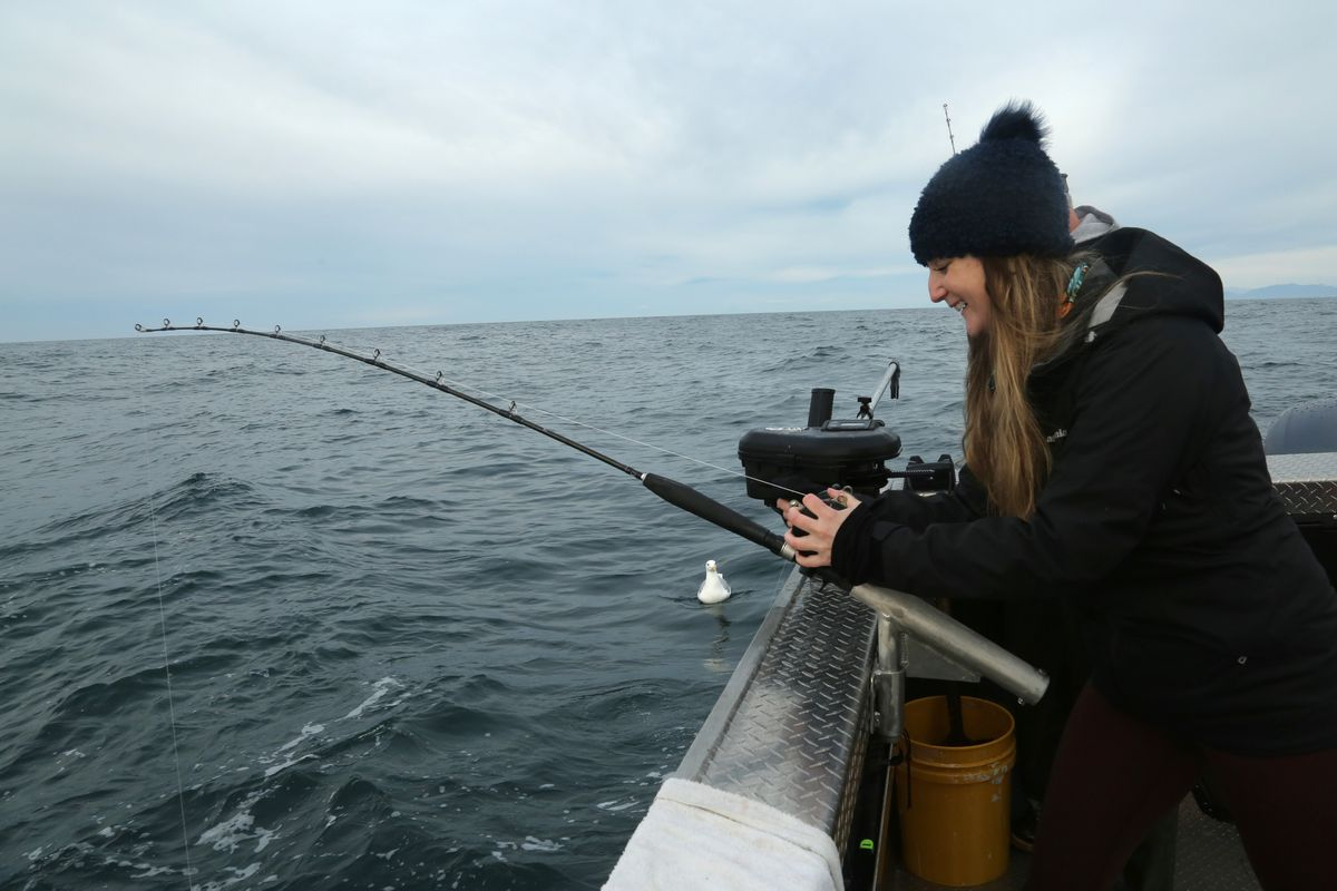 Christine Cunningham's youngest sister enjoys her first day fishing on the ocean. (Photo by Christine Cunningham)